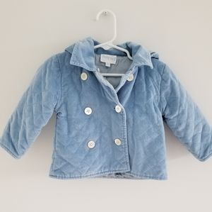 Baby CZ blue velour toddler coat